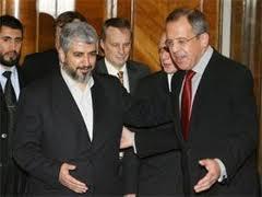Лидер ХАМАС Халед Машааль и глава МИД РФ Сергей Лавров во время московской встречи, декабрь 2009