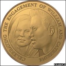 Юбилейная монета по случаю свадьбы принца Уильяма и его избранницы, Кейт Миддлтон