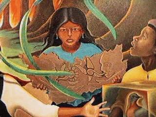 Именно на этой фреске изображена маленькая черноволосая индейская девочка,  которая держит  в руках каменную табличку, напоминающую кусок календаря Майя (кстати, некоторые исследователи замечают, что эта табличка напоминает карту России, и это действительно так. Прим. Ред.).